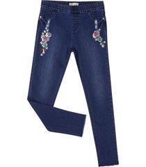 jeans bordado dark denim corona