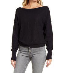 women's treasure & bond off the shoulder thermal knit top, size x-small - black