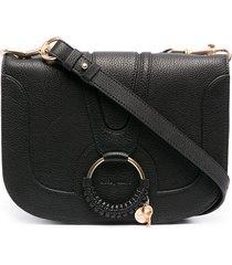 see by chloé hana ring-embellished crossbody bag - black