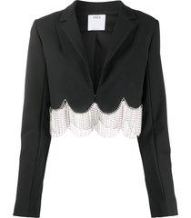 area crystal-embellished scalloped cropped blazer - black