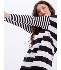 blusa manga longa listra silk preto com branco