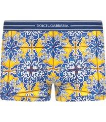 dolce & gabbana tile pattern boxers - yellow