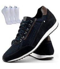 sapatênis casual dhl calçados masculino azul + kit de meias