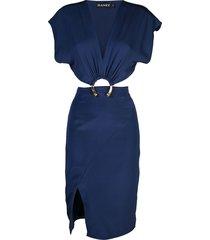 haney kerr hoop detail dress - blue
