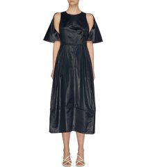 cape sleeve cupro midi dress