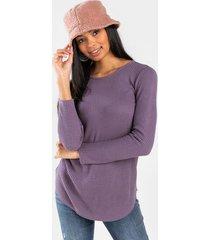 lana button back waffle knit top - purple