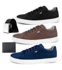 kit sapatenis dhl calçados neway sw preto, marrom e azul com 1 cinto e 1 carteira