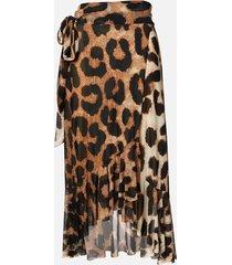 ganni women's printed mesh skirt - maxi leopard - eu 36/uk 8