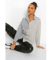 contrasterend gestreepte oversized blouse, black