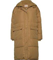 signe puffer coat gevoerde lange jas beige soft rebels