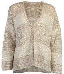 crochet knit silk paillette cardigan