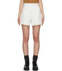 quilted jacquard scallop hem shorts