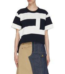 cut-out detail block stripe cotton t-shirt