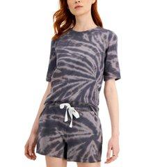 style & co petite printed short sleeve sweatshirt, created for macy's
