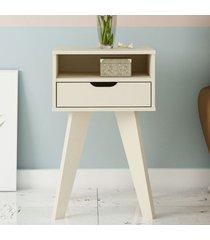 mesa de canto vip com nicho off white - artely