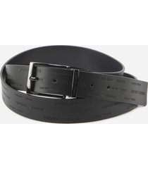 emporio armani leather belt with all-over embossed logo