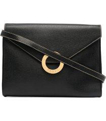 céline pre-owned pre-owned ring detail crossbody bag - black