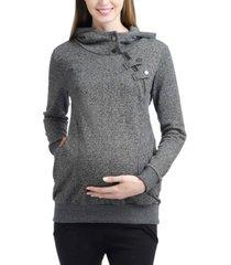 kimi + kai zoe asymmetrical zip maternity hoodie