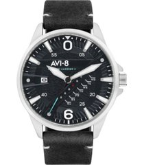 avi-8 men's hawker harrier ii black genuine leather strap watch 45mm
