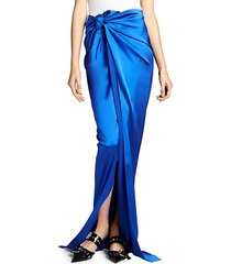 knotted stretch satin long skirt