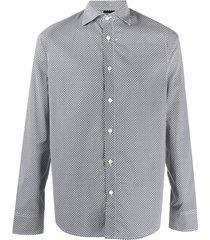 emporio armani printed cotton shirt - black