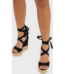 nly shoes lace wedge sandal high heel