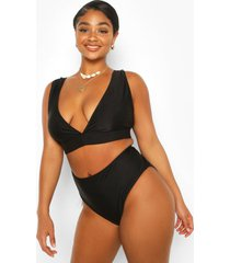 plus mix & match plunge bikini top, black