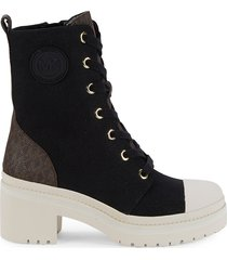 michael kors women's corey cap toe logo booties - black brown - size 6