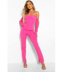 getailleerde broek met split, hot pink