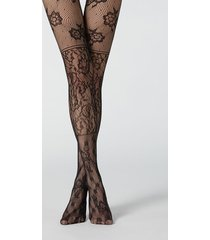 calzedonia floral patchwork pattern fishnet tights woman black size 3/4