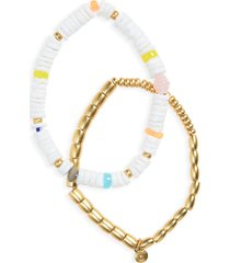 women's madewell 2-pack shell stretch beaded bracelets