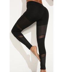 leggings deportivos de malla con parche diseño hollow