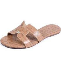 chinelo rasteira mercedita shoes estampa croco extra macia feminino - feminino