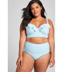 lane bryant women's longline underwire balconette bikini top - seersucker 38dd seersucker stripe