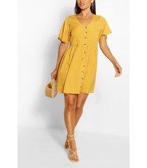 button down skater dress, mustard