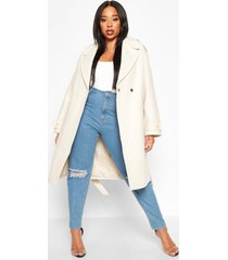 plus wool look button detail belted coat, ivory