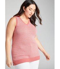lane bryant women's striped sleeveless sweater tunic 10/12 mauveglow