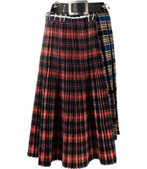 chopova lowena belted pleated plaid skirt - red