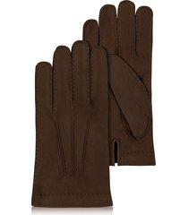 forzieri designer men's gloves, men's cashmere lined dark brown italian calf leather gloves