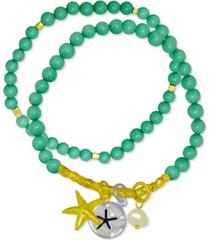 kona bay 2-pc. set freshwater pearl (6-1/2mm) beaded starfish charm stretch bracelets in gold-plate & fine silver-plate