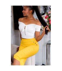 trendy capri-driekwarts leggings met decoratieve knopen geel