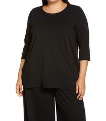 plus size women's eileen fisher organic cotton blend crewneck tunic top, size 1x - black