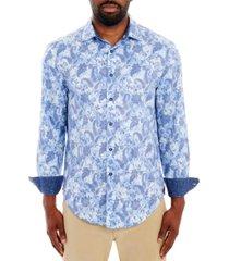 tallia men's paisley floral long sleeve button up shirt