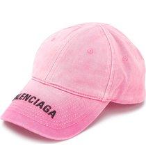 balenciaga logo print ribbed cap - pink