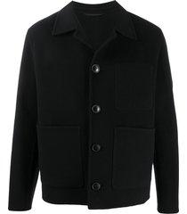 ami paris unstructured patch pockets jacket - black