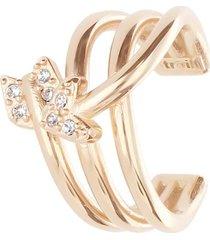 anello regolabile in ottone rosato con freccia di cupido con strass per donna
