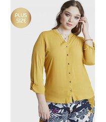 blusa manga larga con botones amarillo lorenzo di pontti