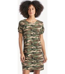 sanctuary women's so twisted t shirt dress in color: little hero camo size large from sole society