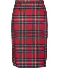red valentino red shetland tartan midi pencil skirt