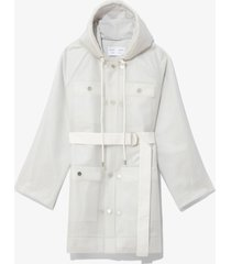 proenza schouler white label belted raincoat with striped lining milky white/metallic m/l
